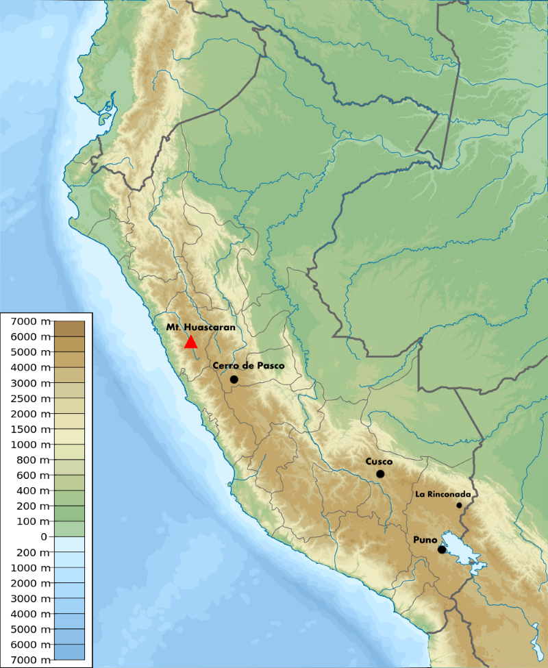 Peru elevation map